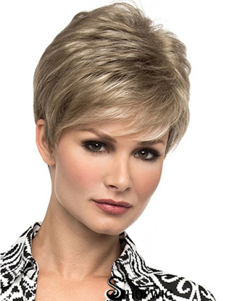 """Affordable 6"""" Straight Blonde Boycuts Short Wigs"""