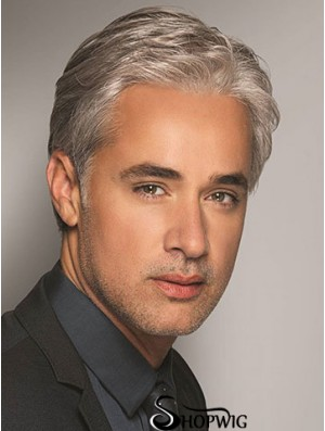 "Synthetic 6"" Grey Short Wavy Hair For Men"