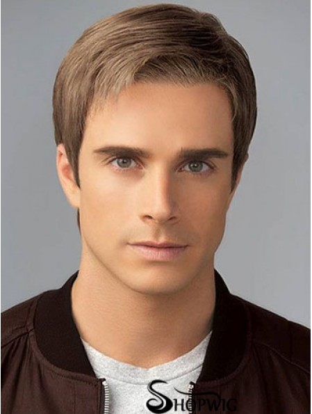 "6"" Brown Classic Short Straight Synthetic Mens Wigs"