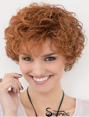 Lace Front Curly Copper Layered 10 inch Short Hairstyles