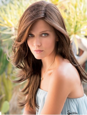 Layered Brown Synthetic Straight 20 inch Long Hair Wig