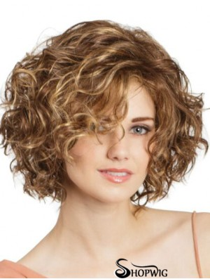 "Lace Front Curly 11"" Blonde Bob Cut Wigs"