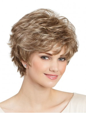 "Classic Wavy 8"" Blonde Capless Lady Wig"