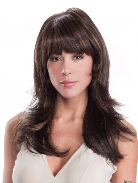 """Straight With Bangs Brown 16"""" Monofilament Wig For Cancer Patients"""