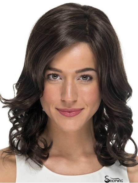 """Curly Without Bangs Black 14"""" Monofilament Cheap Wigs For Cancer Patients"""