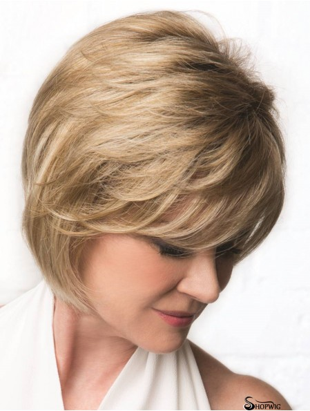 Monofilament Blonde 10 inch Wavy Bobs Cancer Wigs For Women