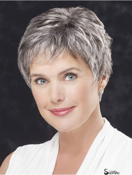 """Lace Front Cropped Straight 4"""" Grey Hair Wigs"""