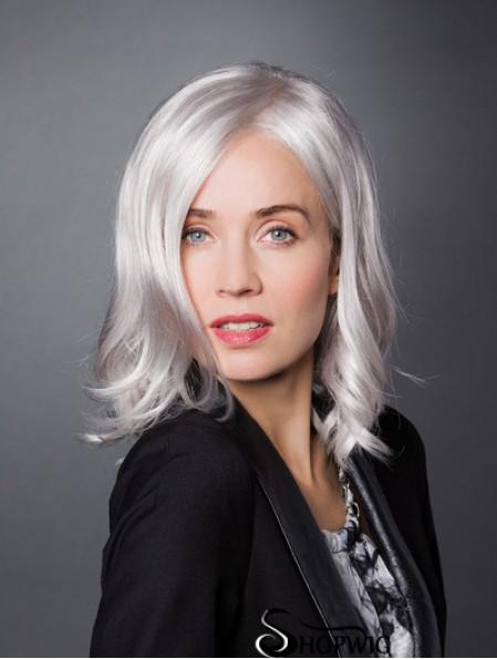 "Monofilament 12"" Shoulder Length Synthetic Wavy Ladies Grey Wigs"