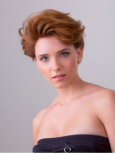"""Copper Short Synthetic 8"""" Wavy Layered Front Lace Wigs"""