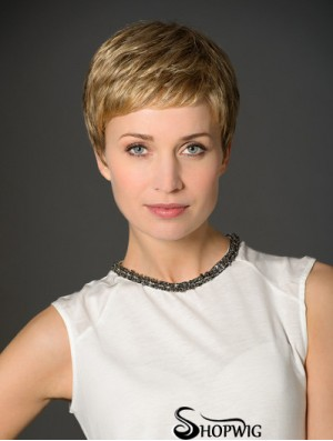 """Blonde Boycuts Cropped 3"""" Straight Synthetic Monofilament Wig"""
