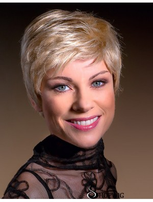 Blonde Boycuts Cropped 6 inch Straight Synthetic Monofilament Wigs For Women