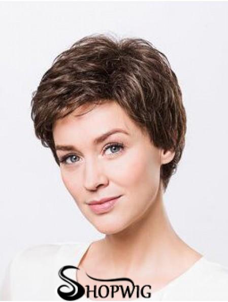 "Brown Boycuts Short 8"" Wavy Synthetic Ladies Monofilament Wigs"