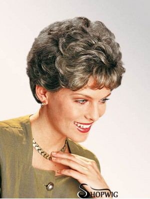 """Curly Grey 7"""" Classic Synthetic Lace Front Short Wig"""