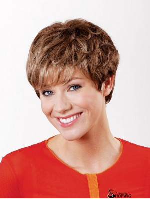 """Synthetic Capless 6"""" Boycuts Straight Copper Short Hair Wig"""