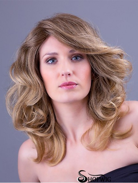 Synthetic Blonde Wavy 14 inch Monofilament Layered Wigs Long