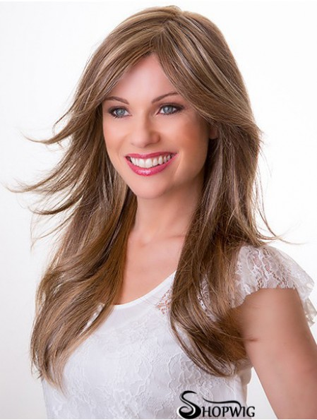 Synthetic Blonde Straight 16 inch Capless Layered Cheap Long Wigs