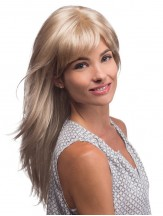 Long Blonde Wig With Bangs Monofilament Synthetic Straight Style