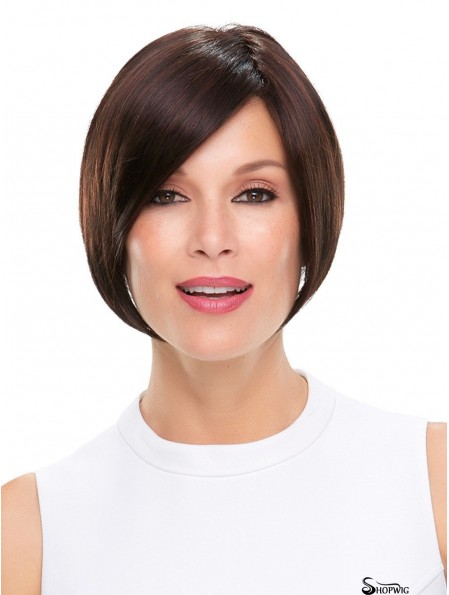 Straight Black Without Bangs 6 inch Mono Wigs