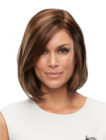 Auburn 12 inch Straight Without Bangs 100% Hand-tied Wigs