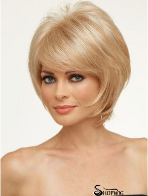Copper With Bangs Straight 8 inch Chin Length Monofilament Hair Topper