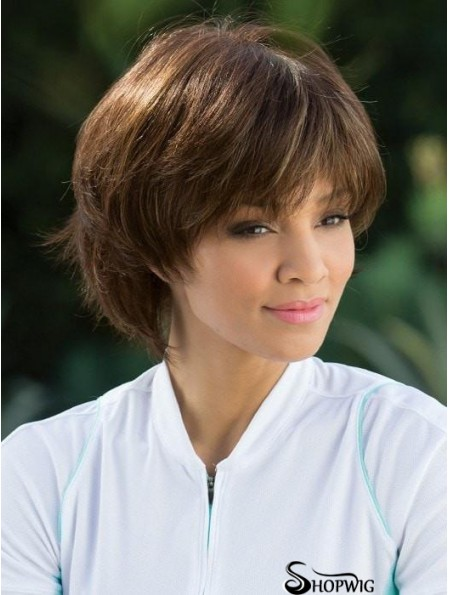 Straight Brown With Bangs 8 inch Mono Top Wigs