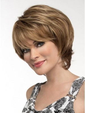 Straight Brown With Bangs 8 inch Monofilament Wigs