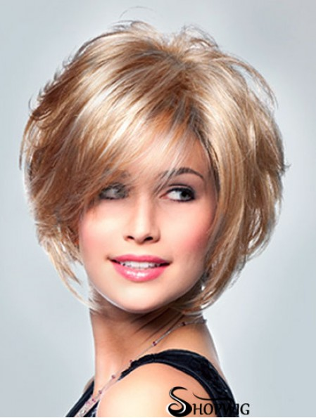 UK Lace Wigs With Monofilament Short Length Curly Style Layered Cut