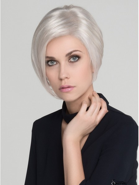 Straight White Without Bangs 7 inch Mono Wigs