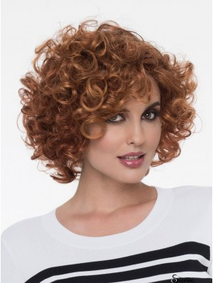 Auburn With Bangs Curly 8 inch Chin Length Monofilamen Crown Wig