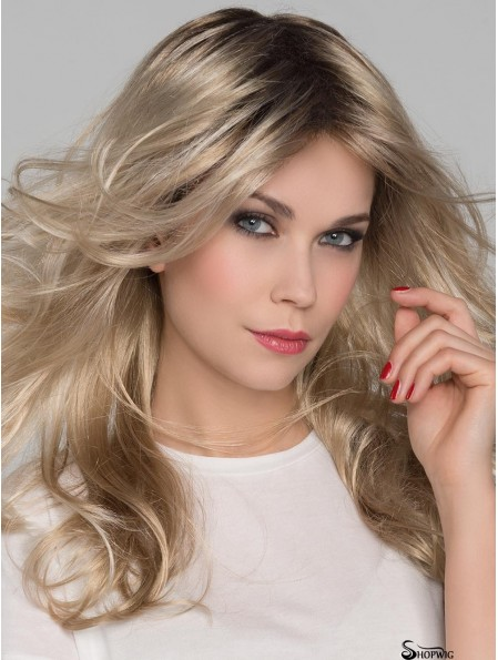 Platinum Blonde Layered Wavy 16 inch Long Mono Crown Lace Wigs