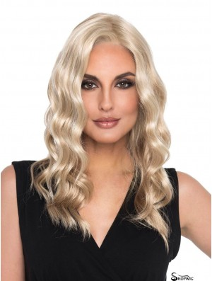Curly Blonde Without Bangs 16 inch Mono Top Wig