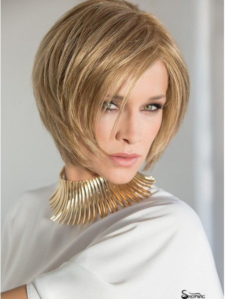 Blonde 8 inch Straight Layered 100% Hand Tied Wigs