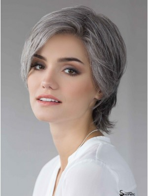 Grey 8 inch Straight Layered 100% Hand-tied Wigs