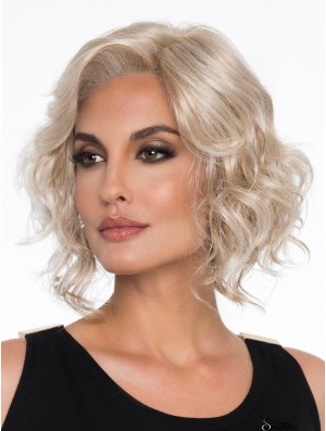Platinum Blonde Without Bangs Curly 12 inch Chin Length Buy Monotop Wig Sale