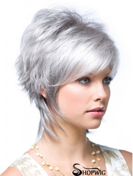 Cheap Ladies Grey Wigs Wavy Style Short Length With Lace Front