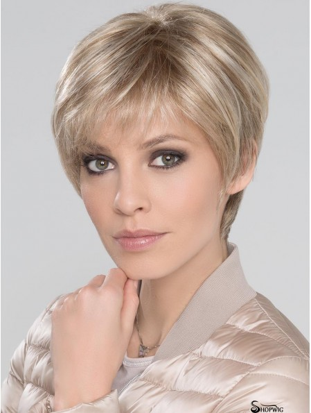 """Blonde With Bangs Straight 6"""" Short Monofillament Wigs"""