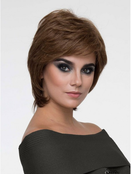 Brown With Bangs Straight 8 inch Chin Length Mono Hair Wigs