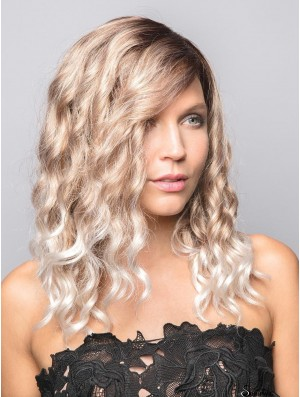 Blonde 14 inch Curly With Bangs 100% Hand-tied Wigs