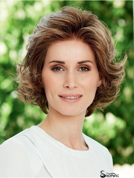 Wavy Brown Hairstyles Chin Length Classic Wigs