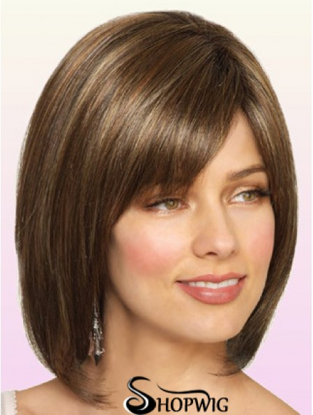 Wigs Bob Style Chin Length Lace Front Bobs Cut Brown Color