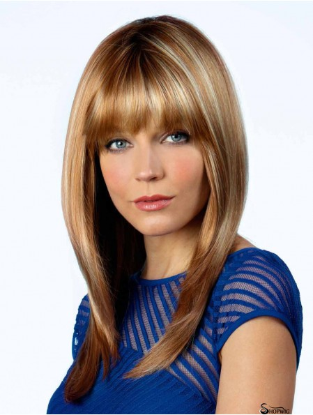Mono Top Wig With Bangs Blonde Color Long Length