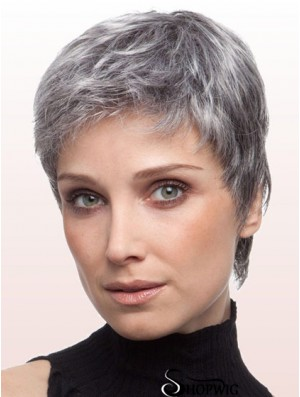 Wigs For Older Ladies With Lace Front Grey Cut Cropped Length