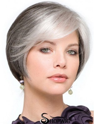 Grey Wig With Lace Front Grey Cut Straight Style