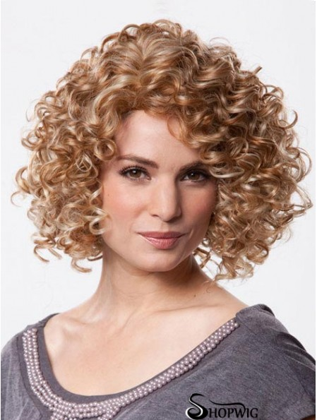 Mono Wig Chin Length Curly Style Brown Color With Synthetic