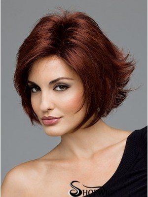 Sleek Auburn Chin Length Curly Layered Monofilament Wigs