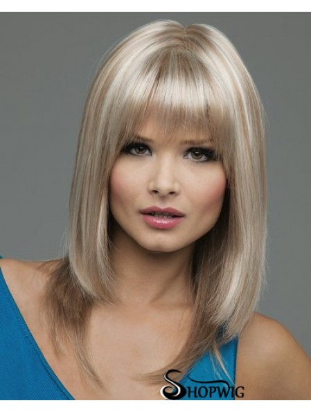 Straight With Bangs Shoulder Length Blonde Natural Lace Front Wigs