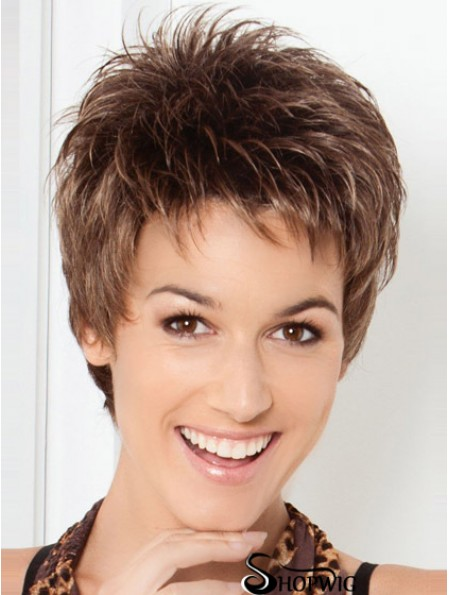 Cheap Brown Cropped Straight Boycuts Lace Front Wigs