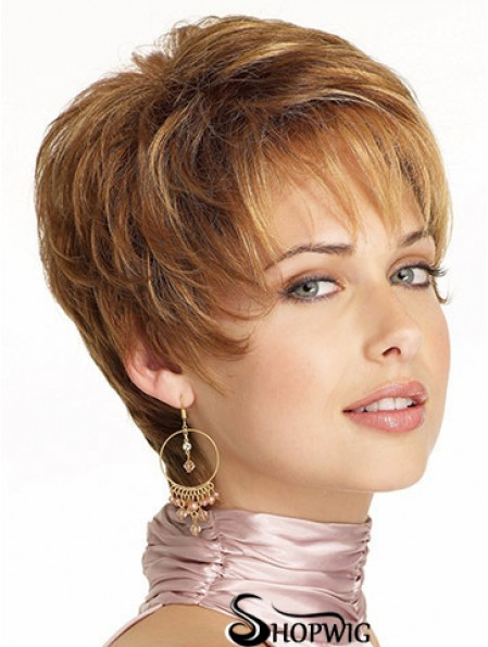 Popular Brown Cropped Wavy Boycuts Lace Front Wigs