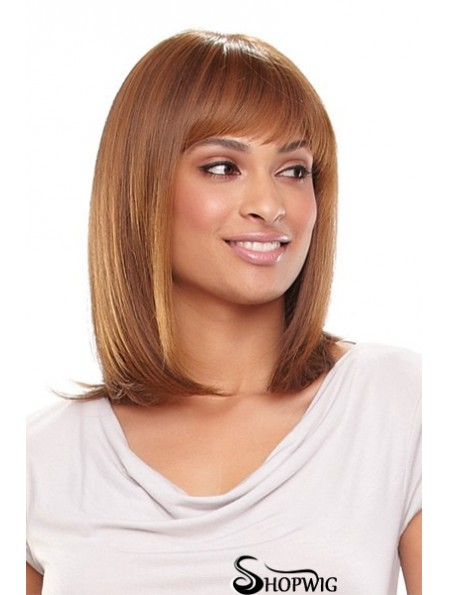 13 inch Popular Blonde With Bangs Monofilament Wigs
