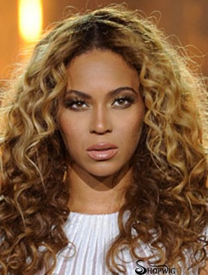 """Blonde Long Curly Without Bangs 100% Hand-tied 20"""" Beyonce Wigs"""